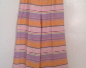 Vintage 1960's Gorgeous Pastel Striped Cotton High Waisted Wide Leg Pants W 27 Sz XS Small Resort Slim Aarons Jackie O