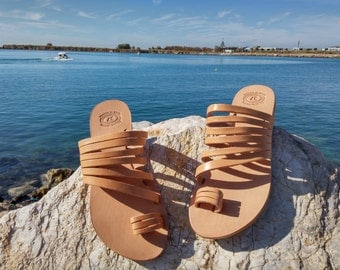 Toe Ring Sandals, Strappy Sandals, Slip on Leather Sandals. 100% Genuine Leather Handmade in Greece