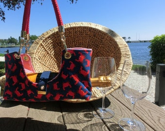 Crab Fabric Bottle Boat/Wine Purse/Bottle Caddy/Wine tote
