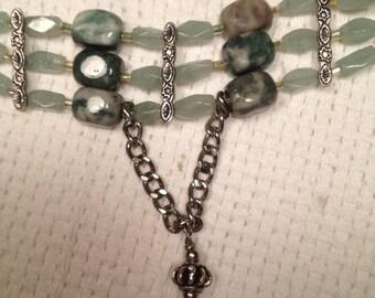 Handmade Genuine Green Aventurine Choker, Genuine Jade Choker, 3 strand choker, Genuine Jade Necklace, Genuine Aventurine necklace