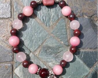 Full Strawberry Moon Blessings - Rhodonite, Rose Quartz, Fancy Jasper, Rosewood, Silver Moon and Goddess Charm Bracelet