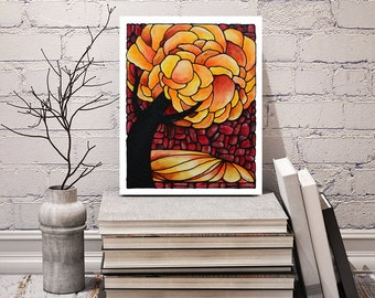 Autumn Tree Print - Bedroom Art Print - For Your Wall - Poster Artwork - Autumn Tree Art - Powder Room Image - Signed by Artist Kathy Lycka