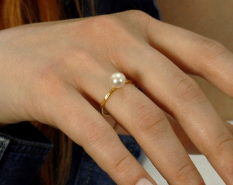Pearl Ring, Solitaire Pearl Ring, Silver Stacking Rings, Engagement Ring, Gold Pearl Ring, 14K Solid Gold Pearl Ring, Bridal Jewelry, SR0207