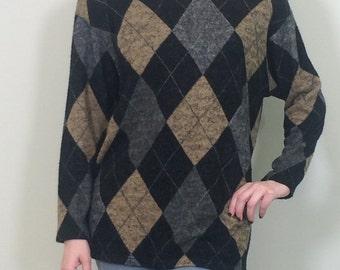 Vintage 1980s Argyle Sweater, Vintage Sweater, Preppy Sweater