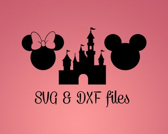 Mickey Mouse SVG DXF cut files, Disney Castle Silhouette studio files, Cameo files, svg cutting template, Minnie Ears Iron On, Cricut design