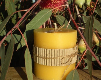 Pure Beeswax Candle - Short Pillar