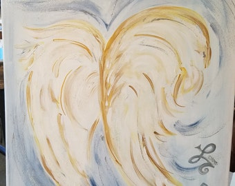 Painting, Angles Wings with Rune Symbols and Quartz crystals.
