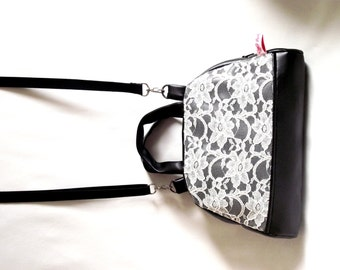 """Bowling"" vintage, off white lace and black leather handbag"