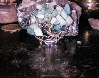 Amazonite tree of life pendant. Silver. Blue green healing crystals.OOAK