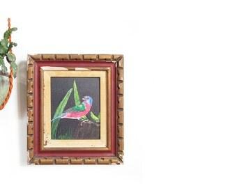 vintage oil painting / bird art / 1970s framed wall art