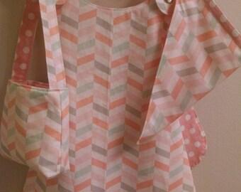 REVERSIBLE GIRLS CHILDS Pinafore Tunic Dress*Head Scarf*Purse Gift Ensemble 1T-2T
