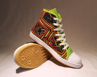 Handmade High Top Mola Shoes US Size 9