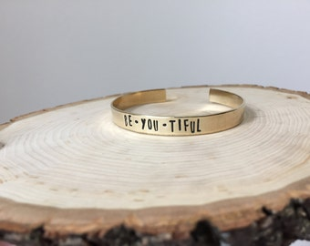 BeYOUtiful Hand Stamped Cuff Bracelet, Beautiful, I am Beautiful, Hand Stamped Jewelry, Hand Stamped Bracelet