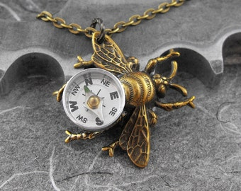 Steampunk Compass Bee Golden Necklace - Flight of the Travelling Bumblebee by COGnitive Creations