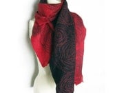 Hand Felted Scarf Merino Wool, Tussah Silk Black Coral-Red Mohair Threads Spirals Cobweb