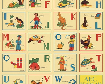 French Alphabet Wrapping Paper by Cavallini to Frame or for Gift Wrapping, Book Binding, Decoupage, Collage, Scrapbooking, Paper Arts & MORE