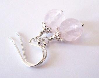 Rose Quartz Gemstone Earrings, Sterling Silver Drop Earrings, Faceted AA  8.5 mm Rose Quartz Earrings