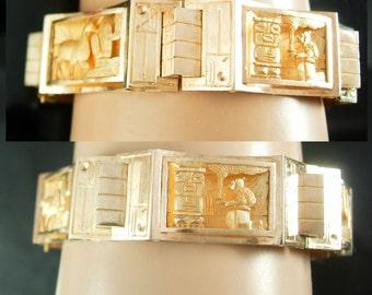 Vintage 14kt GOLD Bracelet LARGE Story telling aztec Mayan God deity Inca Llama Peru Mexico Custom made jewelry 32.5 grams