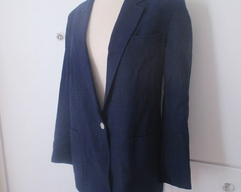 Navy Blazer, Georgio Sant' Angel, One Button Suit Jacket, Linen, Size XL XXL, Plus Size Jacket, Knit Blazer, Blue Power Blazer