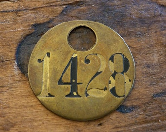 Primitive Brass Tag, Rustic Numbered Tag, Vintage Brass Tag 1428