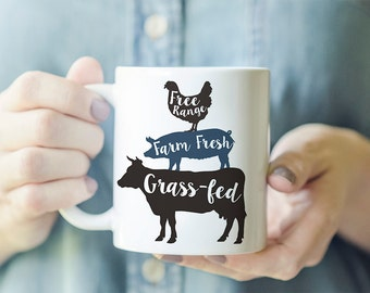 Farm Animal Mug - Farmhouse Mug, Free Range Mug, Farm Fresh Mug, Grass Fed Mug, Gift for Granola Girl, Gift for Country Girl, Animal Stack