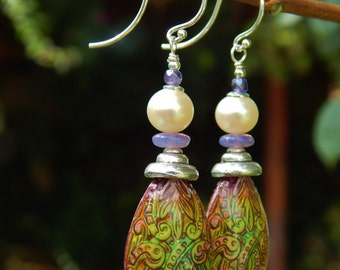 The Mood of Love Earrings - Color-Changing Mood Beads w Vintage Pearls, Czech Glass & Argentium Ear Wires / Proceeds Benefit Sierra Club