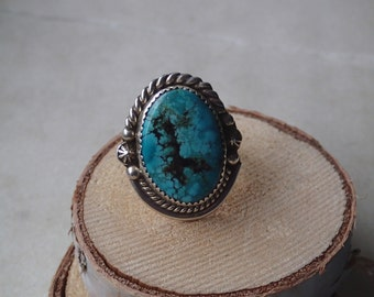 Sterling Silver and Turquoise Ring - Navajo Handcrafted