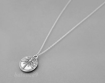 Dragonfly necklace, Silver disc necklace, Antique silver disc charm pendant, holidays gift, everyday jewelry, by balance9