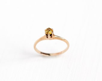 Sale - Antique Art Deco 10k Rose Gold Simulated Citrine Baby Ring - Petite Vintage Size 2 1/4 Ostby & Barton OB Yellow Glass Fine Jewelry