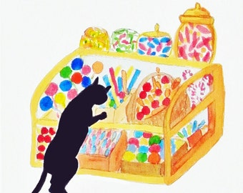 Black cat watercolor giclee print, Kitty Gets a Craving, Candy Store, Martha Kuper Brinson, great gift for cat lovers, kitten art