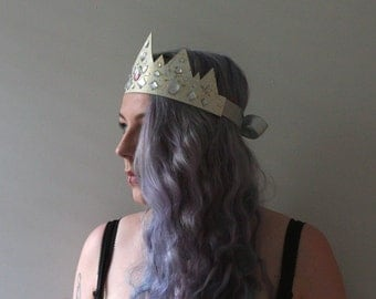 white leather and crystal crown / tiara with gold and silver accents