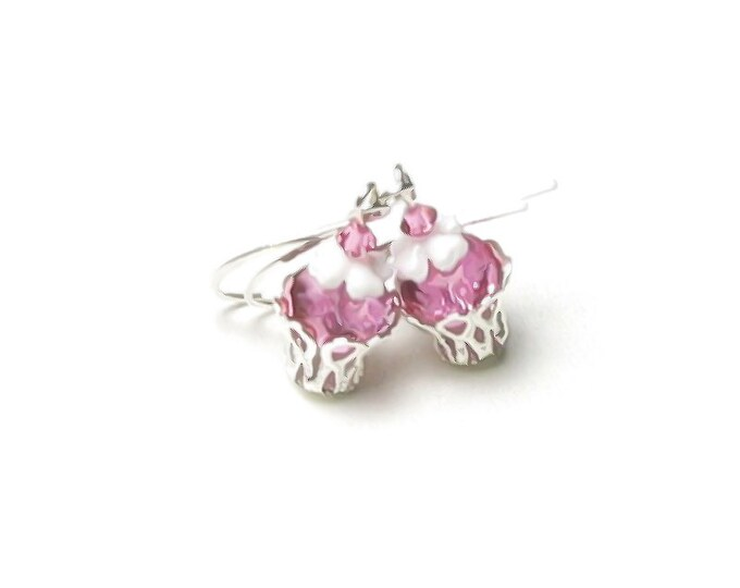 Pink Strawberry Twinkle Cupcake Silver Earrings, Swarovski Crystal Gumdrop on Top, White Icing, Fun Gift for Women, Sweet Mini Birthday Food