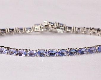 GENUINE Tanzanite & Sterling Silver Tennis Bracelet,Oval Round Tennis Link Bracelet,Keepsake,Heirloom,Premium Quality Gemstone Bracelet,Blue