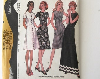 1970s Dress Pattern McCalls 3133 Womens Mod A Line Maxi Dress Sewing Pattern Short Sleeves Sleeveless Size 16 Bust 38 UNCUT