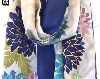 Hand Painted Silk Scarf, Large Reversible Scarf Floral, Luxury Gift, Navy Blue and Beige Kimono Floral Scarf, 15x72 inches, Made to order
