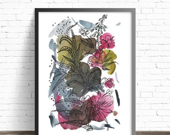 Botanical print. Floral poster. Flower Print. Flower watercolor. Flower poster. Floral wall art. Flower painting print. Floral art print