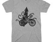 Squid on a Bike T Shirt Mens Graphic T Shirts - Funny Bike TShirts Womens Tshirts - Beach Ladies T Shirt Kids Birthday Gifts Ideas T Shirts