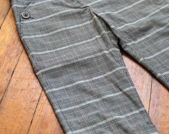 London Calling Vintage 90s Plaid Cuffed Women's Capri Pants Grunge Punk British