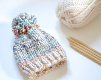 Knit Baby Hat // Baby Accessories // Baby Hat With Pom Pom // Neutral Baby Hat // Baby Beanies // Baby Hats // Knit Baby Hat With Pom Pom