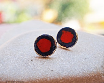 Red Stud Earrings, Round Post, Sterling Silver, Hand Painted Art Jewelry, Handmade Gifts