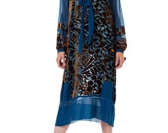 1920s Raoul Dufy Style Silk Burnout Velvet Dress   Size: M/L