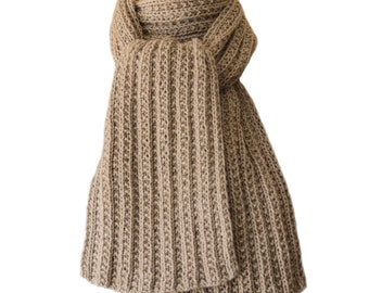 Hand Knit Scarf - Natural Gey Hand Maiden Cashmere Trail Rib