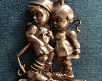 Hummel Boy & Girl Pin Brooch German