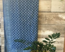 Wallis Levin Kantha Indigo hand stitched quilt - 100% India Cotton- Bohemian Boho scallop block printed blue white Coverlet FULL / QUEEN