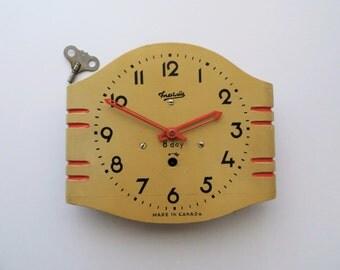 1950's Forestville Wood Wall Clock Retro Mod Home Decor Rare Collectible