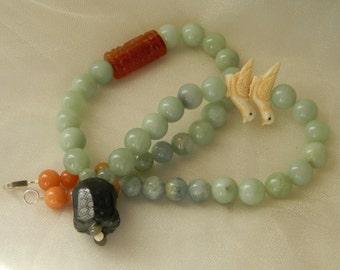 jade turtle pendant w celadon jade beads necklace , beaded jewelry , jade jewelry , turtle longevity talisman , jade pendant , Asian jewelry