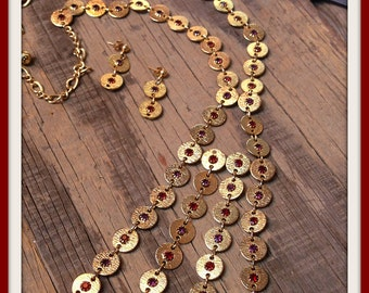 Vintage Gold Disc Necklace Earrings Demi Parure Set Purple Red FREE SHIPPING
