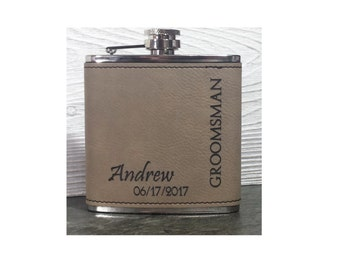 Personalized 6 oz  Light or Dark Brown or Grey Leatherette /Stainless Steel Flasks - Perfect Wedding Party Favors