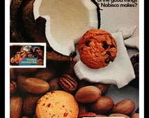1968 Cookie Ad with Pecan Shortbread & Coconut Chocolate Chip - Wall Art - Home Decor - Kitchen - Cocoanut - Retro Vintage Food Advertising