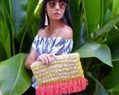 Yellow Raffia Clutch, Bright Apricot Tassel Clutch, Shell Embellishment, Party Bag
